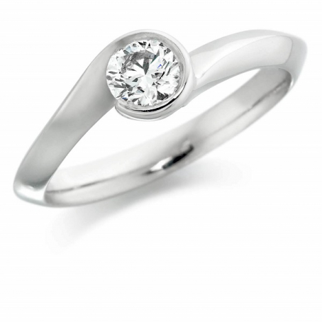 9K White Gold Round Diamond Engagement Ring
