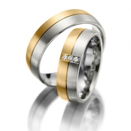 9ct Yellow and White Gold Bi-Colour Wedding Ring Set