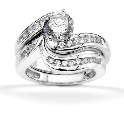 18ct White Gold Diamond Shaped Wedding Ring Set
