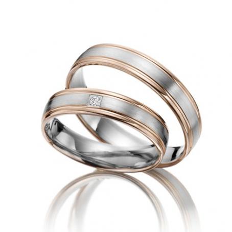 Rose Gold and Palladium Two-Colour Wedding Ring Set