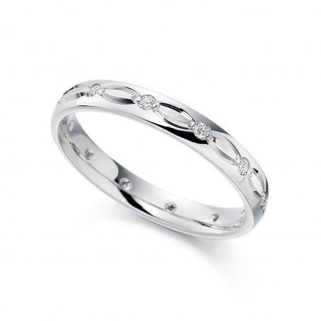 Palladium Diamond set patterned Wedding Ring
