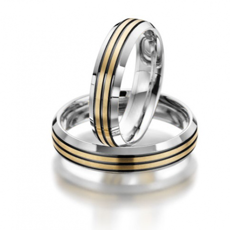 Bi-colour White and Yellow Gold Wedding Ring Set