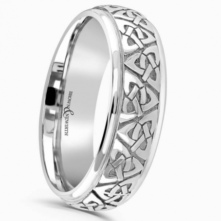 Palladium 6mm Court Shape Celtic Wedding Ring