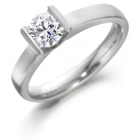 Palladium Brilliant Cut Tension Set Engagement Ring