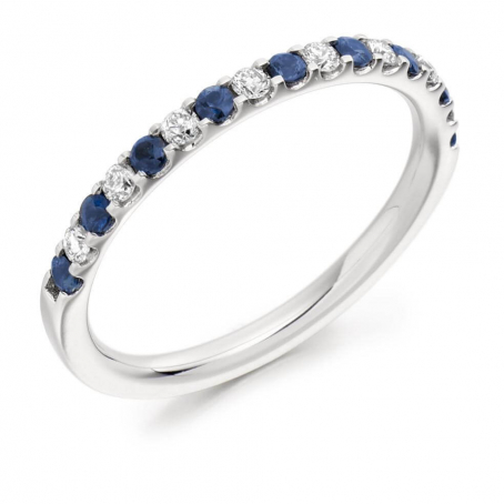 Palladium Diamond and Blue Sapphire Claw Set Wedding Ring
