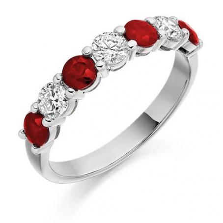 Palladium Diamond and Ruby Ring