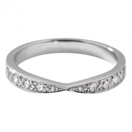 Palladium Diamond Set Cross Over Ring
