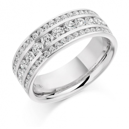 Palladium Three Row Brilliant Cut Diamond Eternity Ring