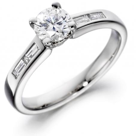 Platinum Brilliant and Baguette Cut Diamond Engagement Ring