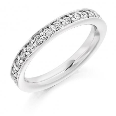 Platinum Claw Half Set Wedding Ring