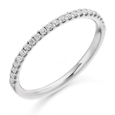 Platinum Claw Set Diamond Half Eternity Ring