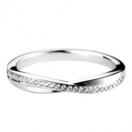 Platinum Diamond Row Twist Style Wedding Ring