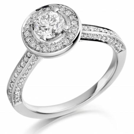 Platinum Diamond Set Halo Style Cluster Ring