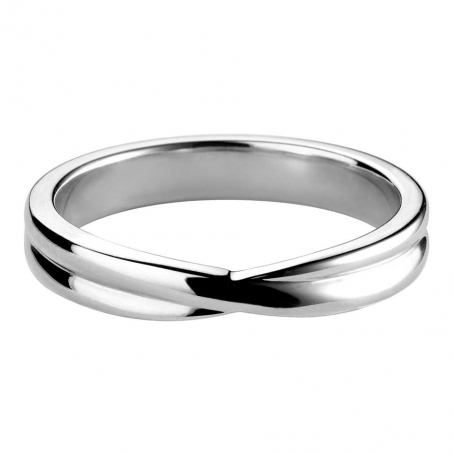 Platinum Grooved Cross Over Style Wedding Ring