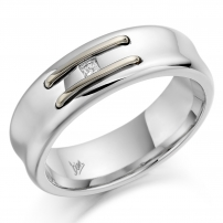 18ct White Gold Rhodium and Unrhodiumed Mixed Wedding Ring