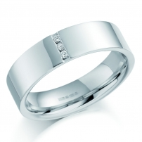 Plain Palladium Channel Set Mens Wedding Ring