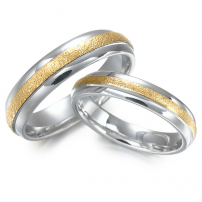 14ct White and Yellow Two-Colour Wedding Ring Set