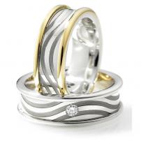 14ct White and Yellow Two-Tone Diamond Matching Rings
