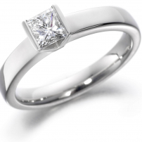 14ct White Gold Princess Cut Diamond Engagement Ring