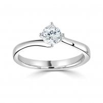 14ct White Gold Single Stone Twist Engagement Ring
