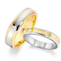 14ct Yellow and White Gold Concaved Centre Matching Set