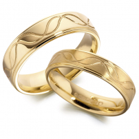 14ct Yellow Gold Patterned Matching Wedding Ring Set