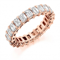 18ct Rose Gold Diamond Emerald Cut Full Eternity Ring