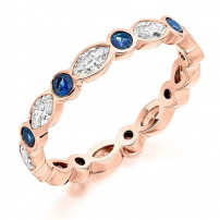 18ct Rose Gold Marquise Diamond and Blue Sapphire Ring