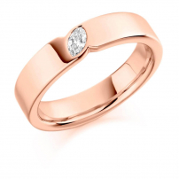 18ct Rose Gold Marquise Diamond Wedding Ring