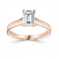 18ct Rose Gold Single Stone Emerald Cut Diamond Engagement Ring