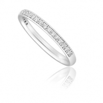 18ct White Gold 2mm wide Pave Set Wedding Ring
