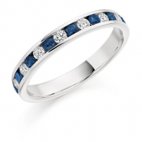 18ct White Gold Blue Sapphire and Diamond Half Eternity Ring