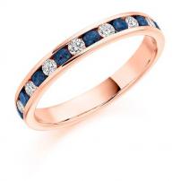 18ct White Gold Blue Sapphire and Diamond Half Eternity Ring