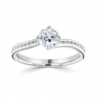18ct White Gold Brilliant Cut Channel Set Cross Over Ring