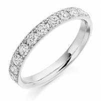 18ct White Gold Claw Set Diamond Wedding Ring