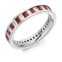 18ct White Gold Diamond and Ruby Fully Set Baguette Ring