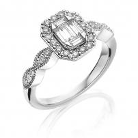 18ct White Gold Diamond Art Deco Style Engagement Ring