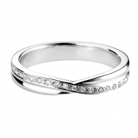 18ct White Gold Diamond Set Crossover Style Ring