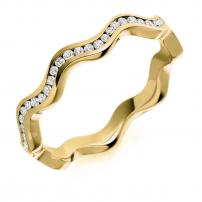 18ct White Gold Diamond Wave Style Wedding Ring