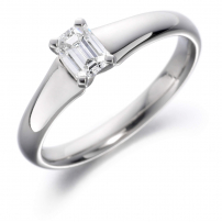 18ct White Gold Emerald Cut Diamond Engagement Ring