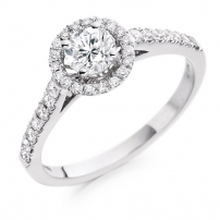 18ct White Gold Halo Style Diamond Engagement Ring