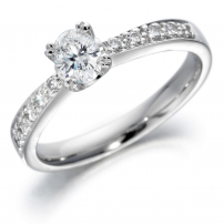 18ct White Gold Oval and Brilliant Cut Engagement Ring