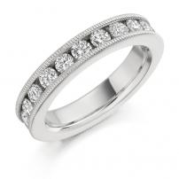 18ct White Gold Patterned Edge Diamond Wedding Ring