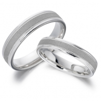 18ct White Gold Patterned Matching HIS and HERS Wedding Rings