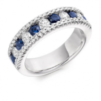 18ct White Gold Round Diamond and Sapphire Channel Set Ring