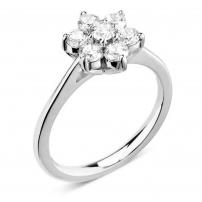 18ct White Gold Seven Stone Diamond Cluster Ring