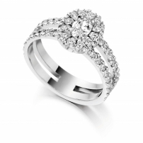 18ct White Oval and Brilliant Cut Diamond Engagement Ring