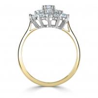 18ct Yellow and Platinum Diamond Cluster Engagement Ring