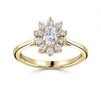 18ct Yellow Brilliant Cut Round Diamond Cluster Engagement Ring