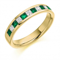 18ct Yellow Gold Diamond and Emerald Wedding Ring